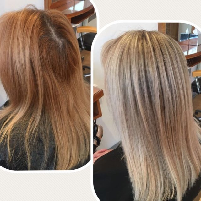 What a color change! Beautiful result for this lady! salonishairhellip
